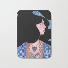 Blue(Klimt Inspired) Watercolor Painting by Grimmiechan Bath Mat