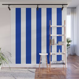 International Klein Blue - solid color - white vertical lines pattern Wall Mural