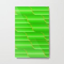 Geo Stripes - Green Metal Print