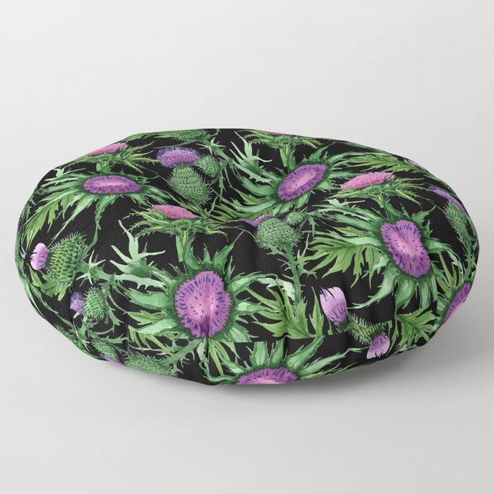 Pink Thistle Pattern on Black Floor Pillow