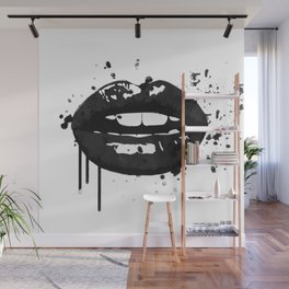 Black and white glamour fashion lips Wall Mural