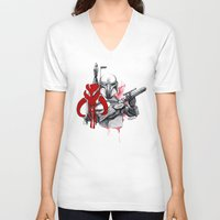 boba fett V-neck T-shirts featuring boba fett by Lyxy