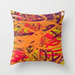 Orange Purple Green & Pink Abstract Throw Pillow