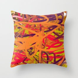 Orange Purple Green & Pink Abstract Throw Pillow