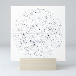 Constellation Map - White and Indigo Mini Art Print