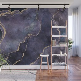 Purple Watercolor Marble Gemstone Glamour Wall Mural