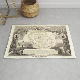 Vintage Bourbon Island Map (1856) Réunion France Rug