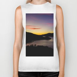 double bay sunset oceanview mountains Biker Tank