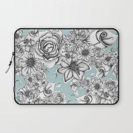 B&W Flowers Blue Laptop Sleeve