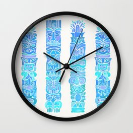 Tiki Totems – Turquoise Palette Wall Clock