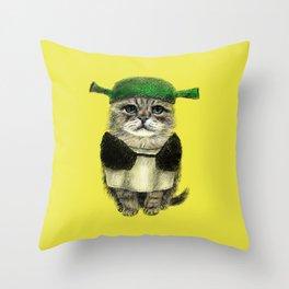 Shreky Cat Throw Pillow
