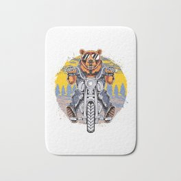 Cool Bear Motorcycle Rider on Bike for Motorcycle and Bear Lover Bath Mat