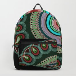 Curly Mandala in pink, blue, green and red Backpack