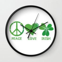 Peace Love Irish St Patrick's Day Wall Clock