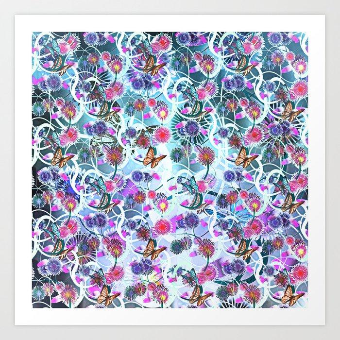Dahlias And Vines Pattern Art Print