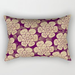 Stylish burgundy faux gold elegant floral Rectangular Pillow