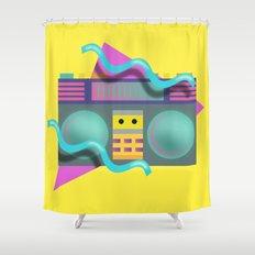 Retro Eighties Boom Box Graphic Shower Curtain