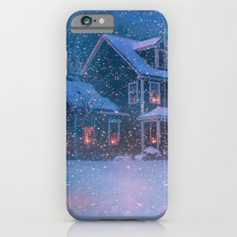 Holiday Christmas Christmas Tree Snowfall Snow Hou iPhone Case