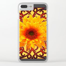 Charcoal Grey Red Sunflowers Pattern Art Clear iPhone Case