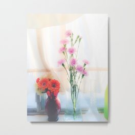 pink flower and orange flower in the vase with curtain background Metal Print