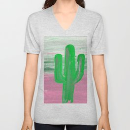green cactus emerges in front of a multi colored sky Unisex V-Neck