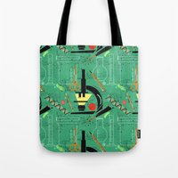 biology Tote Bags featuring BIOLOGY by cecimonster