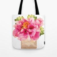 peonies Tote Bags featuring Peonies  by Xchange Art Studio