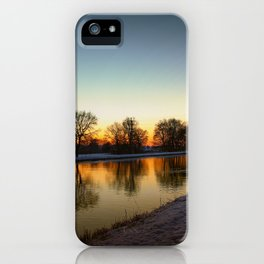Winter sun early morning waterfront iPhone Case