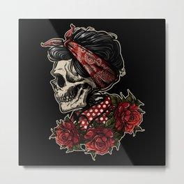 Sugar Skull Woman Roses Metal Print