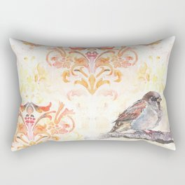 Sparrow in a Damask Autumn Rectangular Pillow