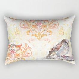 Sparrow in a Damask Autumn Rectangular Pillow