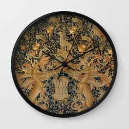 Vintage Golden Deer and Royal Crest Design (1501) Wall Clock