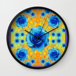 Art Nouveau Blue-golden Roses Abstract Design. Wall Clock