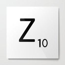 Letter Z - Custom Scrabble Letter Tile Art - Scrabble Z Initial Metal Print