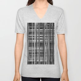 Black and White Abstract Stripe Design 707 Unisex V-Neck