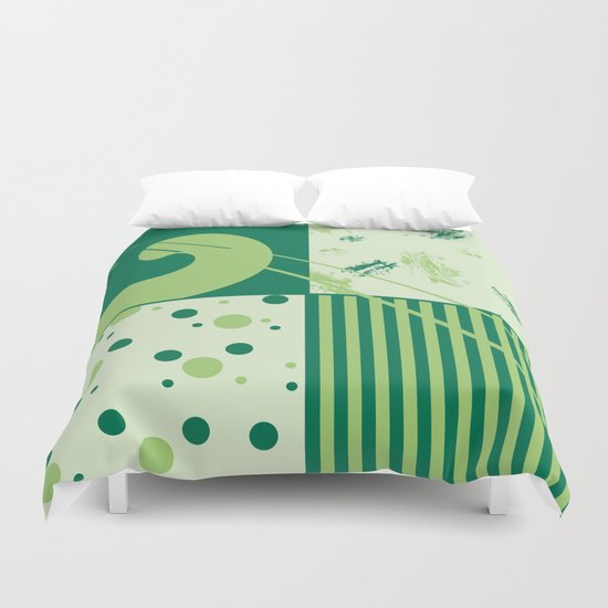 Patchwork pattern in green tones Duvet Cover