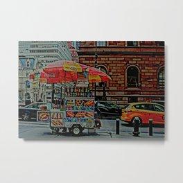 NYC Food Cart Metal Print