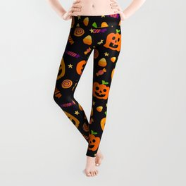 Happy halloween pumpkin, candies and lollipops pattern Leggings