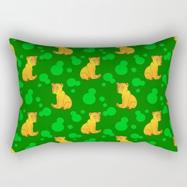 Little bears. Cute adorable funny pink baby bear cubs, bold blue retro dots green forest pattern Rectangular Pillow