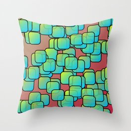 Emerald colored squares Throw Pillow