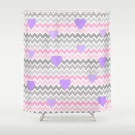 Pink Grey Ombre Chevron with Purple Hearts Shower Curtain
