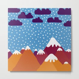 Colorful Snowy Mountains Metal Print