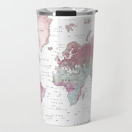 World Map Wall Art [Pink Hues] Travel Mug