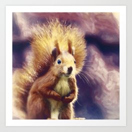 squirrel digital oil paint dopfn Art Print