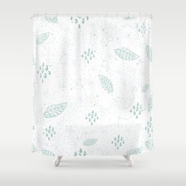 Seamless Pattern With Hand Drawn Leaves. Scandinavian Style Shower Curtain