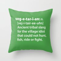 vegetarian Throw Pillows featuring Vegetarian definition dictionairy by Laundry Factory
