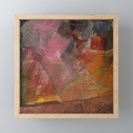 Flaming Sunrise Over the Mountaintop: Abstract Painting Framed Mini Art Print