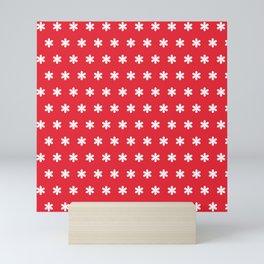 Santas Workshop Red White Snowflakes Christmas Mini Art Print