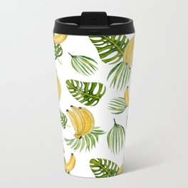 Tropical green yellow leaves fruity banana watercolor Metal Travel Mug