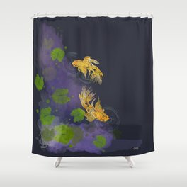 Dark Golden Waters Shower Curtain